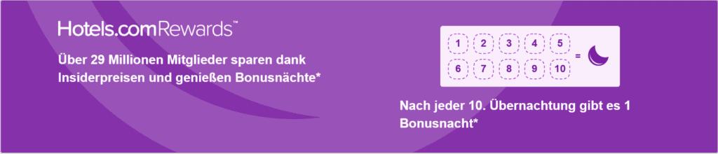 Hotels.com Rewards Programm: 10 Übernachtungen geben 1 Bonusnacht