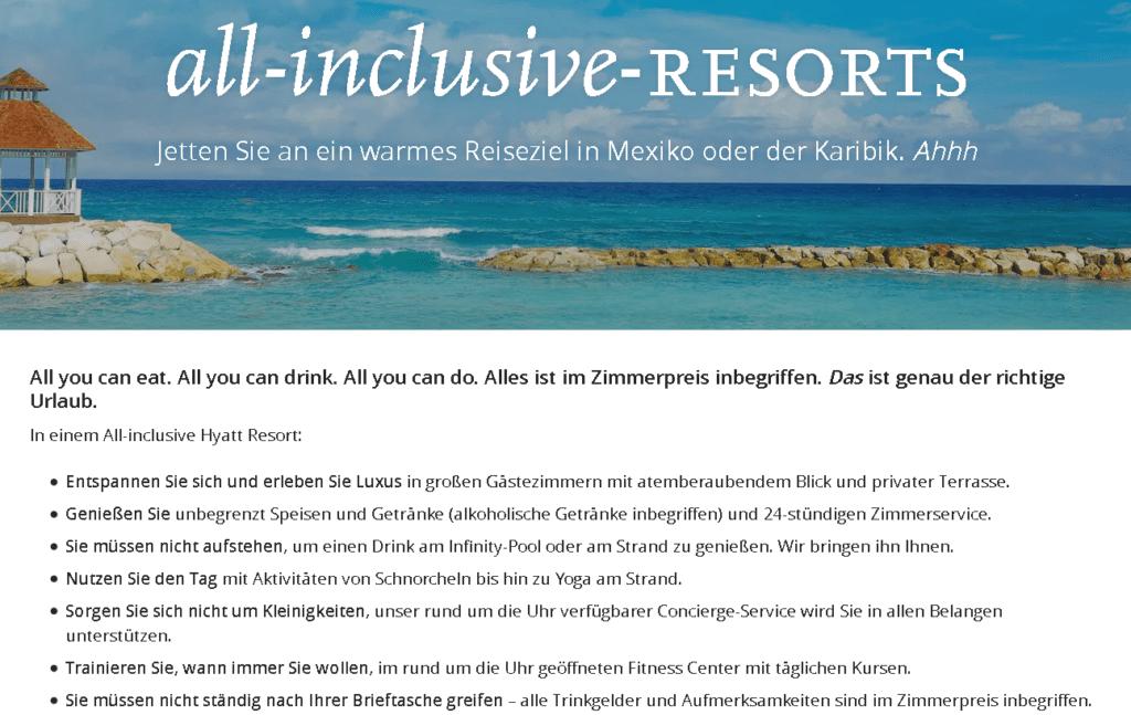Hyatt Punkte einlösen All Inclusive Resorts