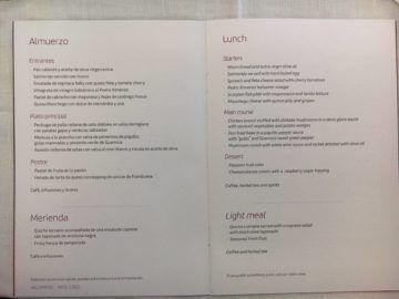 iberia business class a340 600 menu mittagessen mad lim 1