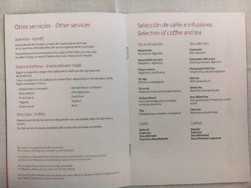iberia business class a340 600 menu mittagessen mad lim 2