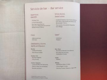 iberia business class a340 600 menu mittagessen mad lim 4