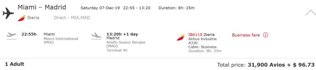 Iberia Business Class Flug von Miami nach Madrid für 31.900 Avios und 97 USD