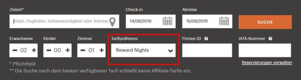 IHG Punkte einlösen Reward Night