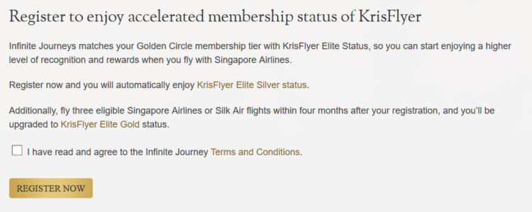 infinite journeys register status match