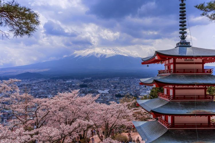 japan city shrine mount fuji sunset strong