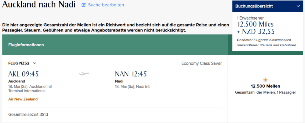 krisflyer praemienflug economy class auckland nadi