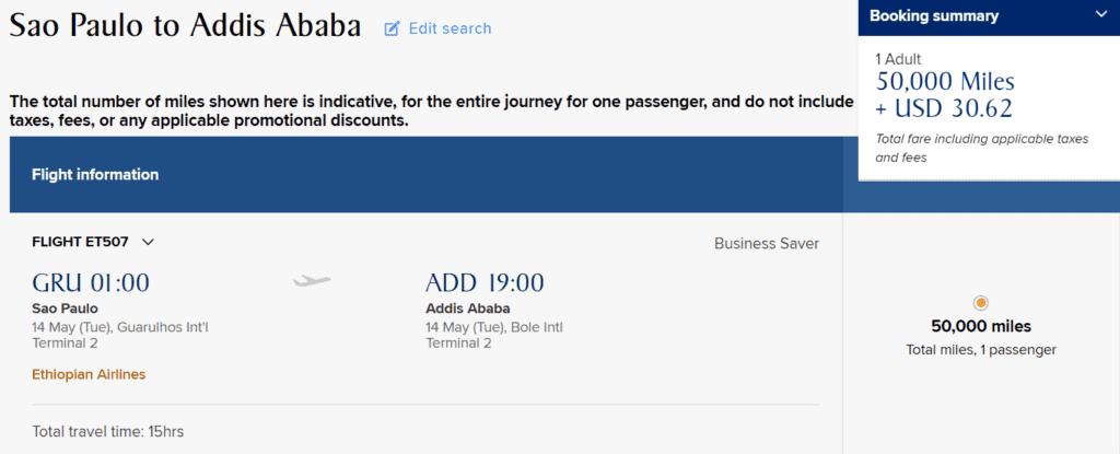 krisflyer praemienflug ethiopian business class sao paulo addis abeba