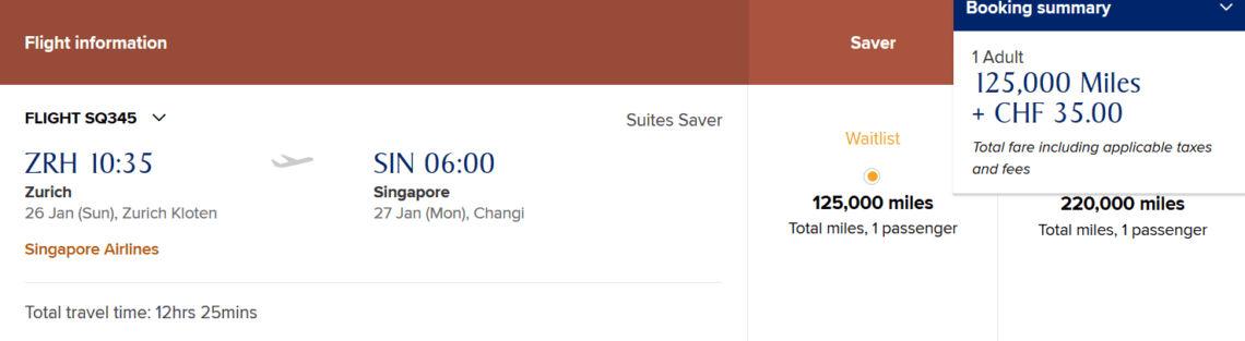 Preis für die Singapore Airlines Suites Class A380-800 zwischen Zürich und Singapur bei KrisFlyer