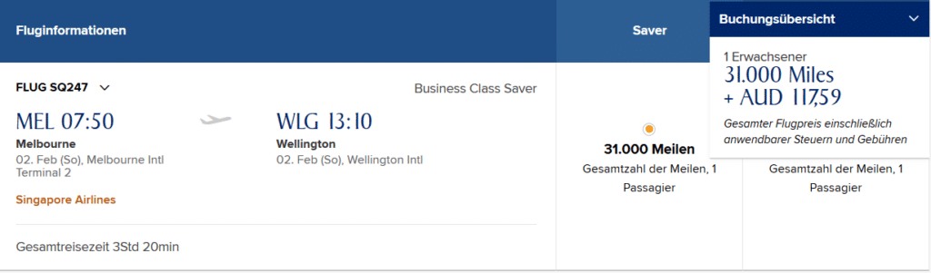 Singapore Airlines Business Class Melbourne nach Wellington
