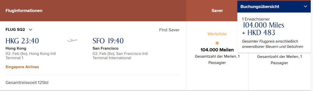 Singapore Airlines Frist Class Hongkong nach San Francisco