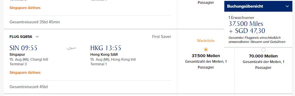 krisflyer singapore airlines first class a380 singapur nach hongkong
