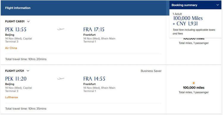 Für Star Alliance Flüge zwischen Europa und Asien hat KrisFlyer nicht unbedingt den besten Awardchart