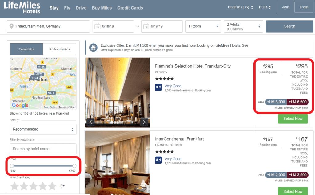 Hotelpreise und Anzahl der Meilen pro Aufenthalt
