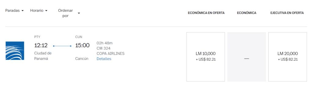 Meilenpreis für die Copa Airlines von Panama-City nach Cancun © lifemiles.com