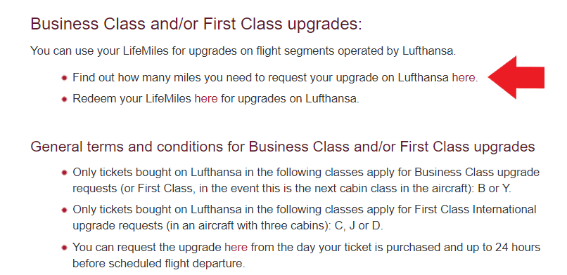 Link zum Upgrade Chart für Star Alliance Partner