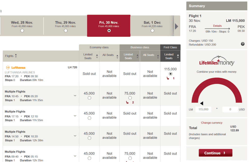 Lufthansa First Class über Avianca LifeMiles buchen