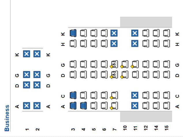 Seatmap des Lufthansa A340-600