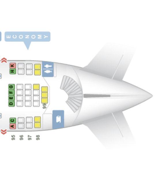 Economy Class im Upper Deck des A380 der Lufthansa