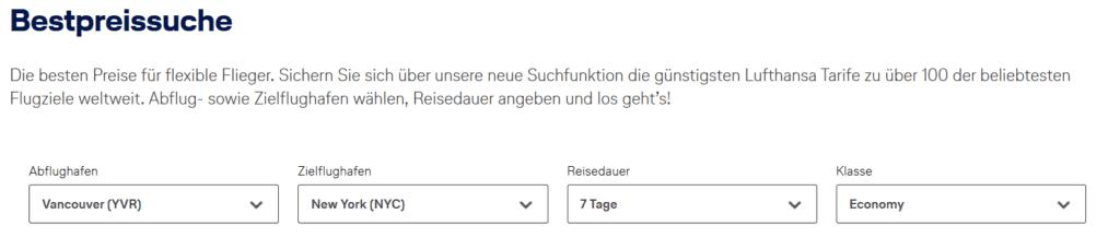 Lufthansa Bestpreissuche Suchmaske