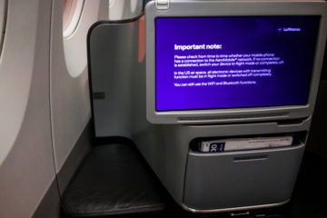 lufthansa business class airbus 350 fussablage monitor