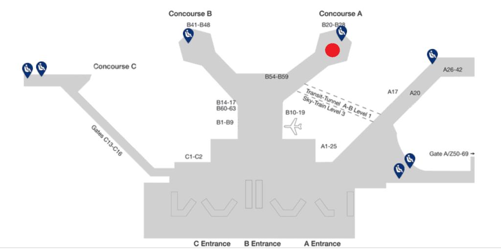 Lage Lufthansa Business Lounge Frankfurt B24-B28 (Terminal1)