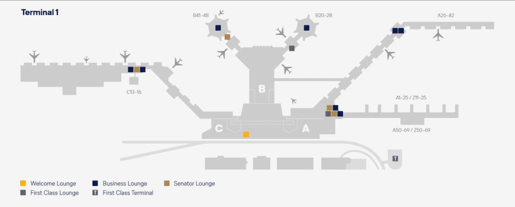 Lageplan der Lufthansa Lounges in Frankfurt &copy Lufthansa