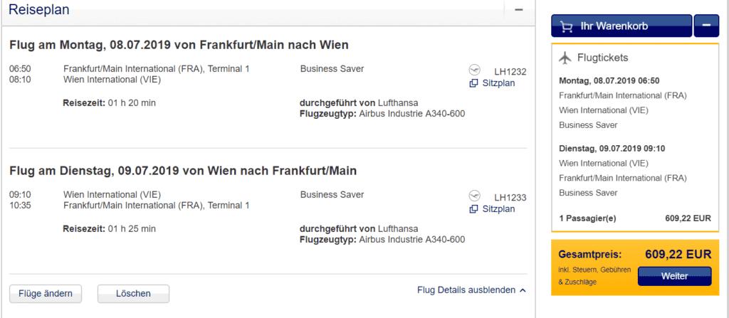 Preis für die Lufthansa Langstrecken Business Class von Frankfurt nach Wien