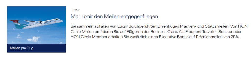 Luxair bei Miles & More