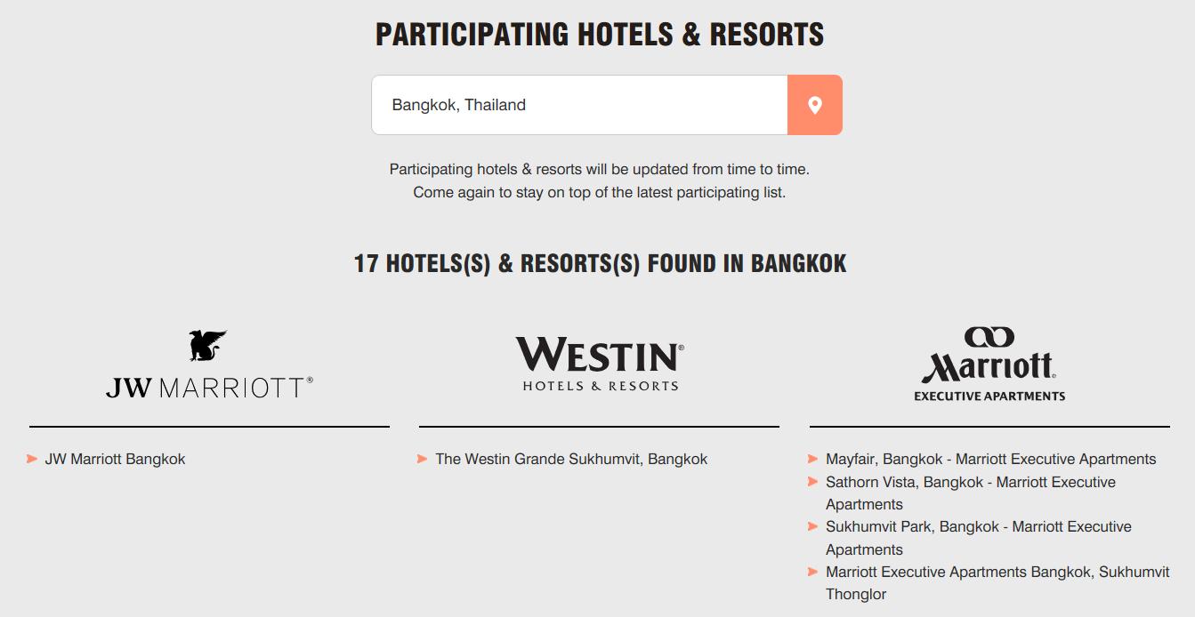 Marriott Asia Pacific Promotion teilnehmende Hotels