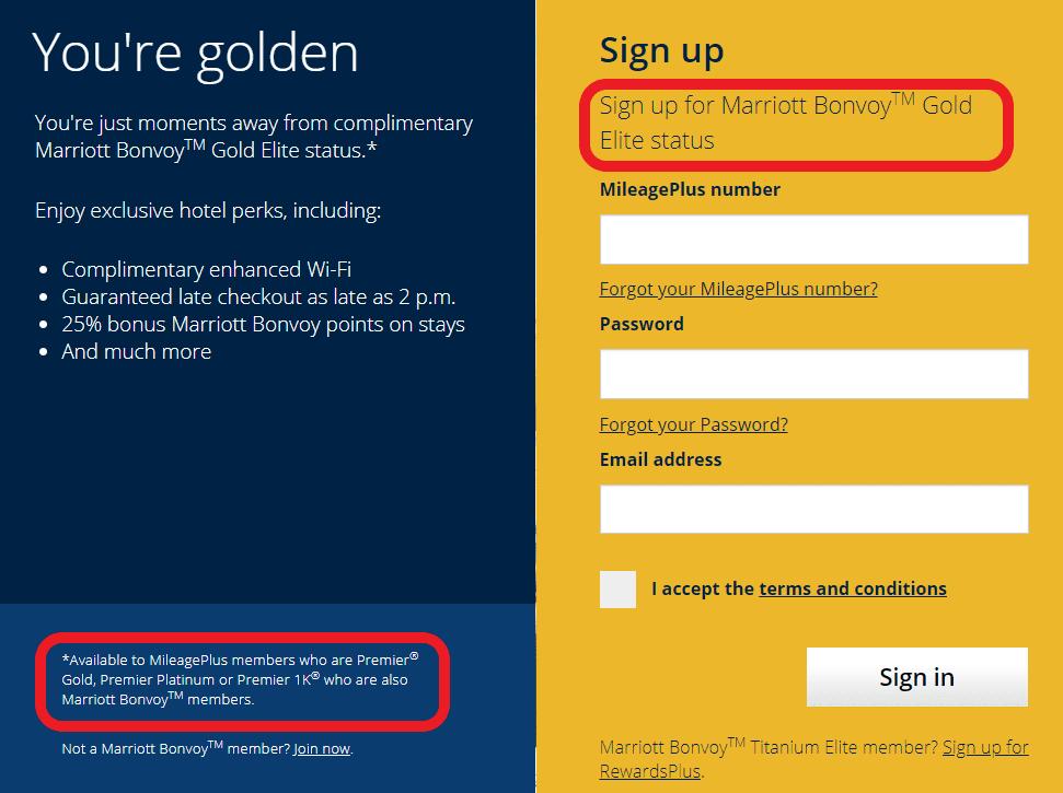 Durch United MileagePlus den Marriott Gold Status erhalten