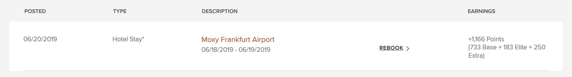 Beispiel Marriott Bonvoy Punkte sammeln mit einer Übernachtung im Moxy Frankfurt Airport