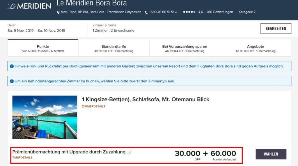 Le Méridien Bora Bora Upgrade Zuzahlung