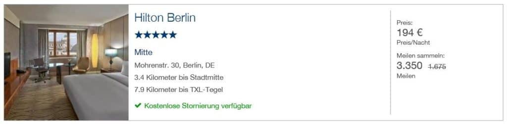 Miles & More Hotelportal: 3.350 Miles & More Meilen für 1 Nacht im Hilton Berlin mit Gesamtkosten von 194€