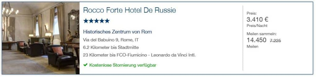 Miles & More Hotels & Cars: 14.450 Miles & More Meilen für 1 Nacht im Hotel de Russie in Rom mit Gesamtkosten von 3.410€