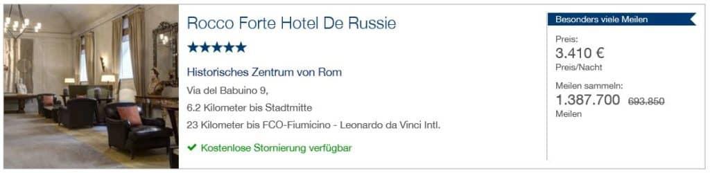 Miles & More Hotels & Cars: 1.387.700 Miles & More Meilen für 7 Tage im Hotel de Russie in Rom mit Gesamtkosten von 23.870€