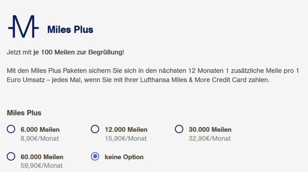 Miles and More Kreditkarte Zusatzpaket Miles Plus