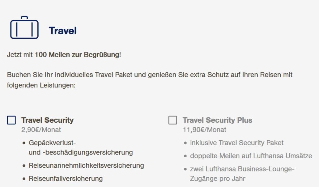 Miles and More Kreditkarte Zusatzpaket Travel