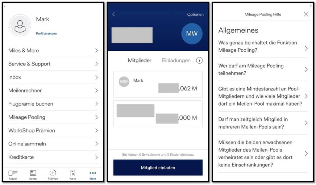 miles and more meilenpooling app