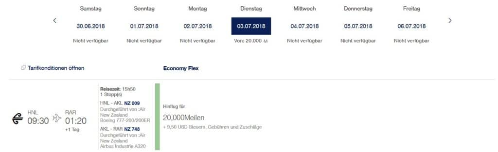 miles and more praemienflug air new zealand honolulu rarotonga