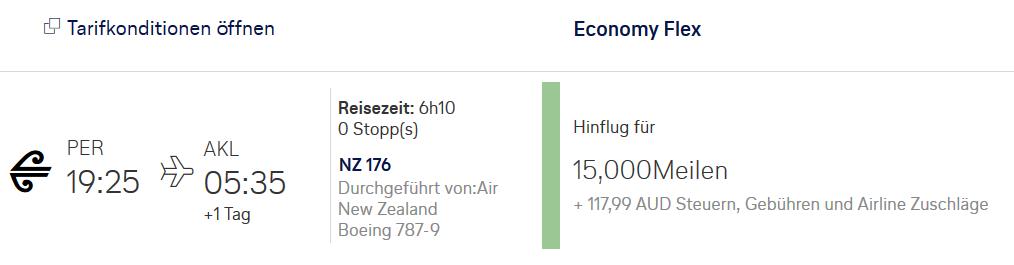 Miles & More Meilen einlösen - Air New Zealand