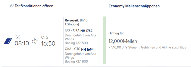 miles and more praemienflug ana economy class isg cts