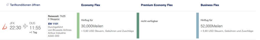 Eurowings BIZclass Strecke New York JFK - Düsseldorf