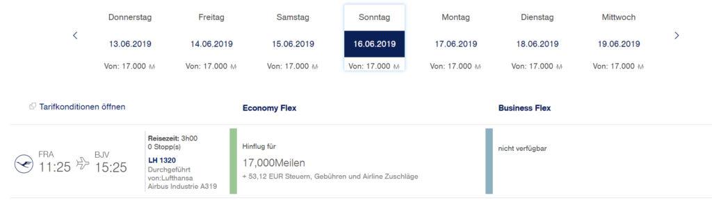 Prämienflug von Frankfurt nach Bodrum bei Miles & More