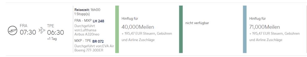Benötigte Anzahl an Miles & More Meilen mit Zubringer ab Deutschland (oneway)
