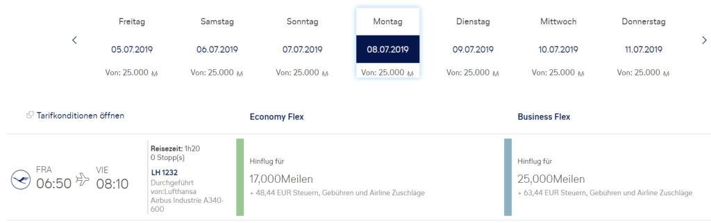 Meilenpreis bei Miles & More für Lufthansa Langstrecken Business Class auf Kurzstrecke