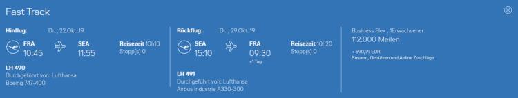 miles and more praemienflug lufthansa business class frankfurt seattle return