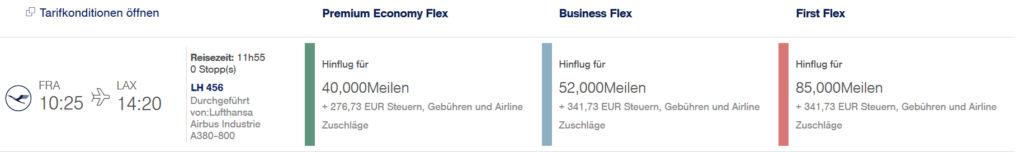Miles & More Meilen einlösen - Lufthansa First Class