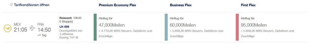 Miles & More Prämienflug mit Lufthansa von Mexiko nach Frankfurt