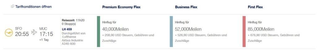 Miles & More Prämienflug mit Lufthansa von San Francisco nach München
