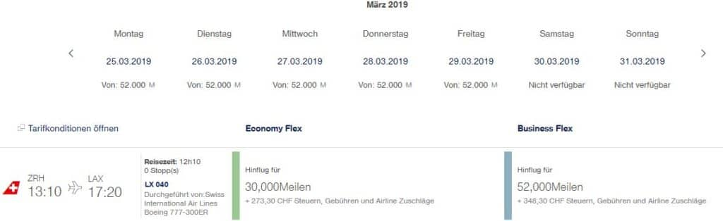 miles and more praemienflug swiss business class zuerich los angeles